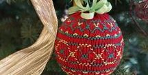 Christmas Ornaments / Handmade Christmas ornaments, most of which have smocking.