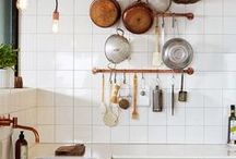 KITCHEN - interior design and decor inspiration / home decor inspiration and design tips for kitchens. loves of bohemian tile, marble and butcher block countertops, two-tone cabinets, and exposed shelving! also always looking for smart storage solutions for small spaces. boho styling tips and tricks.