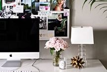 Office / Modern, clean & girly home office decor ideas