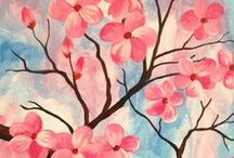 Flowers / Flower paintings in acrylic paint. Create one at your local Pinot's Palette sip and paint studio!