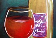 Tipsy Paintings / Painting ideas featuring wine and other boozy favorites. Great kitchen decor and dining room decor!