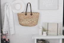 Entryway styling / I have a tiny entryway, it's good to know how to style it pretty while making it functional.