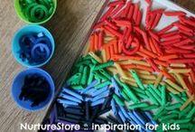 Rainbow theme activities / Rainbow crafts, rainbow theme party ideas, rainbow sensory play, St. Patrick's day activities, St. Patrick's day crafts, rainbow art,  / by Cathy James @ NurtureStore