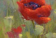pasztellképek / pastell-painting, pasztellkréta-festmények, virágok, városok