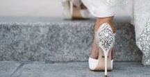Wedding Shoes / Whether peeking out from under a full ball gown, or making a statement with a shorter wedding dress, the shoes are a fun and central part of the bride's wardrobe. Some standouts here.