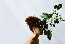 FACELESS PORTRAITS / Faceless portraits often with green plants or flowers.