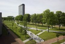 TU Campus, Mekelpark, (Delft, the Netherlands) / Right through the middle of the Technical University of Delft (TU Delft) used to run the bustling and broad Mekelweg (Mekel Way). This road was closed at the beginning of 2007 to make way for Mekel Park, 800 metres long and 80 metres wide. The TU Delft aims to transform its grounds into a University Campus, creating attractive surroundings for its international community of professors and students. / by mecanoo