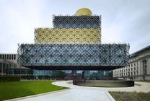 Library of Birmingham (Birmingham, United Kingdom) / 35,000 m2 library with adult and childrens library, study centre, music library, community health centre, multimedia, archives, Shakespeare Memorial Room, offices, exhibition halls, cafes and lounge space, new shared auditorium (300 seats) with neighbouring Repertory Theatre and urban plan for Centenary Square.