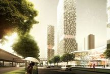 Tanglang Towers eco urban building complex (Shenzhen, China) / Eco urban building complex, with metro station feature. 4-star boutique business hotel of 25,000 m², medium class A offices of 49,000 m², One-stop experience-based thematic shopping mall of 52,000 m², 76,000 m² of medium-high class apartments and 56,000 m² of medium-high class housing estates.