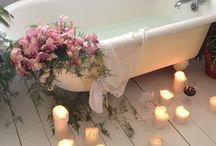 Bathroom Beauty / The Perfect Tub. Billowy florals. Soft creams & Whites complete a romantic bathroom. / by Lauren Daniel