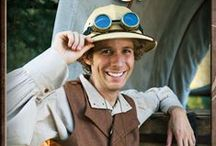 Safari Explorer / See everything that inspired our Safari Explorer Character. He will help lead all of your guests in any activity that you choose!  He can bring along his Magic Shows, Sparkling Face Painting, Balloon Twisting...or any of our other activities!  His handmade costume is complete with a leather bandolier (not pictured, it will be a fun surprise!), edwardian style pants and vest, steampunk inspired goggles and jewelry, and of course, a hat to keep the hot sun off his head!