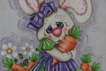 pinturas coelhos em tecido e risco