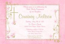 First Holy Communion Cards & Event Planning / These First Holy Communion cards can be personalized to suit your own child's religious event of any occasion, as invitations, inserts, favor stickers, address labels and thank you notes. We also enjoy sharing event planning ideas for this blessed event! / by LilDuckDuck