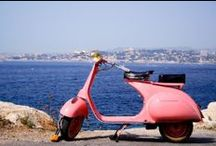 Pink Vespa / Pink coloured Vespa scooters as creative inspiration.