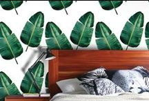 florida room / a design concept for a residential project: mid-century + large botanical prints + hollywood regency