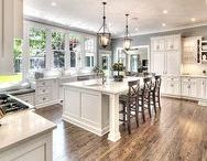 Kitchens - The Heart of the Home / My favorite kitchens are big, open kitchens with white cabinets and dark flooring - a Farmhouse or Fixer Upper style!  Kitchen organization, family friendly kitchen tips