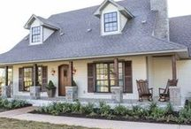 Exteriors - Home Sweet Home / Beautiful home exteriors. Transitional, farmhouse, Fixer Upper, or rustic styles. Front doors, front landscaping