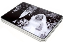 10th Anniversary Wedding Gifts - Tin / Our fantastic tin metal boxes with photos are particularly popular for 10th anniversary gifts. Tin is the tenth anniversary theme, and our high quality boxes look very chic and elegant with your photos on the lid.