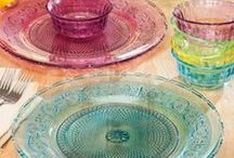 Nostalgic Glassware /  If you're like us, you simply can't resist pretty glassware and love how it adds a timeless look and feel to a table setting, occasional table, or kitchen counter. With every season, you'll find an ever-growing variety of drinking glasses, cake pedestals, candy dishes, serving dishes, and more—all in gorgeous colors and styles, from Depression-era hobnail to jadeite and original-mold reproductions from Mosser Glass—to add to your collection and make your home sparkle.   / by The Vermont Country Store