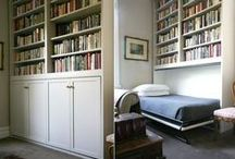 Bedroom Library spare room ideas / Solutions for convertible and small space beds for a guest room that doubles as an office and library
