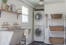 Laundry Room inspiration basement / Transforming a semi unfinished basement laundry room with exposed ceiling into something beautiful and functional