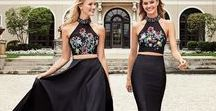 TWO-PIECE DRESSES / The trendy crop top has graduated to formal wear.  Pin your favorite two-piece designer dresses now to prepare for prom, homecoming, bachelorette, or other special event!