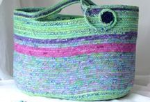 """!!*** Wexford Treasures Creations - Handmade Coiled Fabric Baskets / I love making these unique coiled baskets.  I hand wrap fabric around cotton line creating unique baskets, trivets, bowls, hampers, cat beds, dog beds, and more.  Lovely Easter Baskets, Flower Girl Baskets, and Holiday decor. Please visit my Etsy Shop and use discount coupon code """"pinten"""".  All items ship FREE!"""