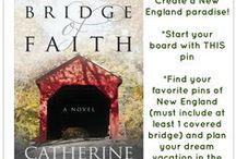 Bridge of Faith / A collection of pins representing my novel, Bridge of Faith, now available on Amazon.