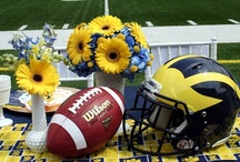 University of Michigan Weddings / A variety of University of Michigan (U of M) themed ideas and decor items for weddings, showers, graduation parties, sports / tailgate parties, etc. #University #Michigan #UofM #UMich #GoBlue #Wolverines #Hail #Maize #Blue #Gold #Sports #College #Team #Event