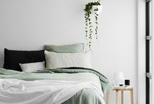 | m e | HOME | bed - green | / This is my inspiration for adding some color (mint or a lush green color) to our plain white bedroom. Although I don't want to loose the tranquility of white. So a little pop of color goes a long way.