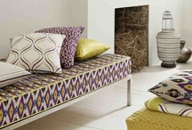 Nomad  / Inspired by the distinctive style of Ancient Persian tribes, Nomad combines intricate patterns with bold, unexpected colours. This collection of embellished linens, rich satins and complex weaves creates a luxurious ambience in the home.
