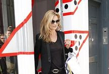 Kate Moss / Kate Moss has a rock-n-roll, sophisticated style in which she wears many blazers, boots, fur & slip dresses