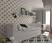 Fiorentino meble z serii Classic- Pokój Pauli / Złoto-białe grochy i delikatna szaroścć ścian połączona z czarnymi akcentami. Meble w kolorze ciepłej bieli.Cudo