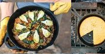 Car Camping Meals and Road Trip Food / Car camping recipes, meal planning for road trips,   camp kitchen organization, and packing so that everyone eats well around the campfire. Camp meals for families and vegetarian camp meals too!