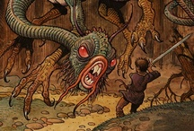 """Fantasy ‣ III. Monsters v. aliens / ❧ Fabulous fauna and flora, faerie folk, alien beings, and higher powers from mythology and sf & fantasy fiction & RPGs ❧ For Lovecraftian life forms, see """"§3 HPL's Cthulhu mythos & other eldritch horrors #eldritchhorror"""" ❧  / by Ant Allan"""
