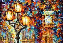 Art - Inspiration from Leonids Afremov / Can I get this free with my strokes - and yet so descriptive! / by Victoria Anderson