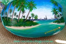 PAINTED COCONUTS / Hand painted coconuts by Jenn Payne. I love to paint and share my visions of paradise on coconuts, they are so much fun to do. It can't get more tropical than this! All my coconuts are for sale at my website www.coconutcottage.com.au