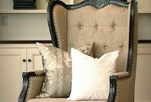 Sitting Pretty / I love to mix fabrics and textures when decorating  for myself and friends. Here are some examples of how to add pizzazz to some rather dull old furniture.