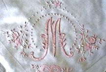 Monograms; M is for Maggie / Decorative Typographic Letters so beautifully presented in thread and ink.