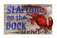 Coastal Vintage Style Wooden Signs / These signs are printed directly on distressed wood panels that have natural knots and other imperfections in them. Printing is done right over these imperfections which gives each sign the look and feel of a real vintage sign.