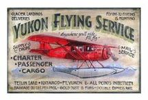 Airplanes Vintage Style Wooden Signs / These signs are printed directly on distressed wood panels that have natural knots and other imperfections in them. Printing is done right over these imperfections which gives each sign the look and feel of a real vintage sign.