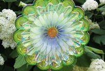 GLASS GARDEN PLATE FLOWER whimsey / garden art from dishes / by Debbie H