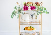 Bars, Bar Carts, Cocktail Glasses, Barware / Love the bar cart trend! How to style a bar cart, stock a bar, home bars, and more. Bars, Bar Carts, Cocktail Glasses, Barware