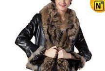 Women Fur Trimmed Coats / Warm, designer fur trimmed leather coats for women