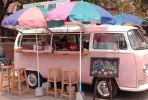 kleurrijke caravannetjes & food wagentjes / colourful caravans & food carts