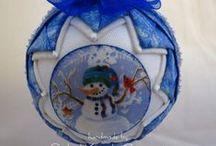 fabric ball ornaments / by Stefanie Hurt