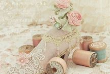 """""""Not So"""" Shabby Chic / Vintage or Antique? Pale pink, ecru, soft blue.. aged, distressed white washed wood ..soft..opulent....and oh so feminine!!!"""