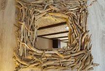 Espejos hechos con maderas del mar / Espejos hechos con maderas que recogemos de la playa.