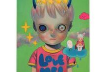Hikari Shimoda / Inspiration from Japanese pop culture provides a spark for both the elements of frivolity and horror that dominate Hikari Shimoda's work. Through her frequent use of children as motifs, she openly explores the struggles and aspirations faced by adults in modern society. Prints are available at Eyes On Walls.