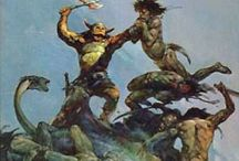 Borris Vallejo, Frank Frazetta (fantasy artists) / The fantasy artwork of Borris Vallejo and Frank Frazetta. Well known by fantasy/science fiction enthusiasts for their book covers of the Conan the Barbarian series.